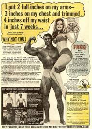 Arnold Schwarzenegger and Betty Weider in a Joe Weider ad