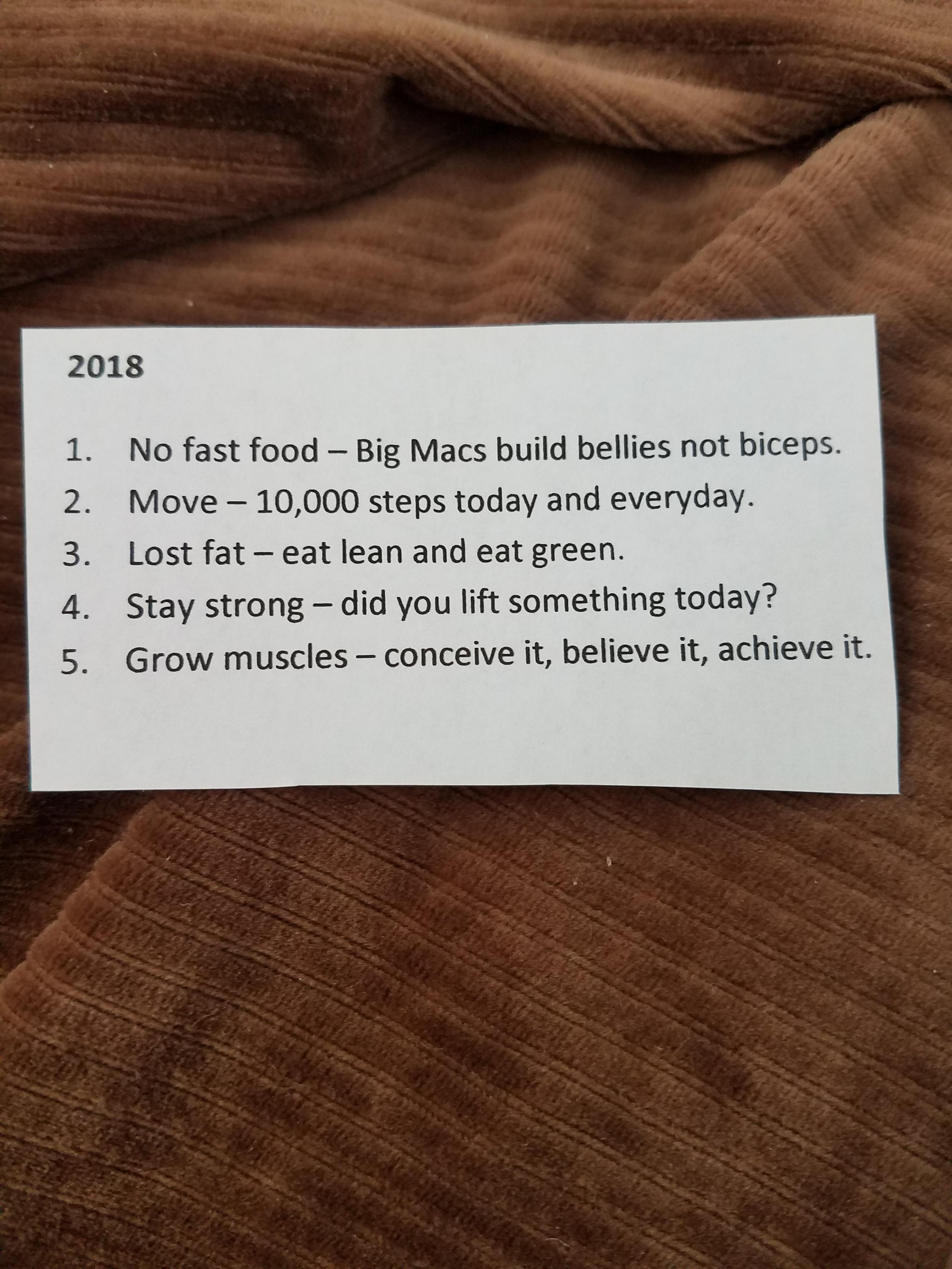 2018 Goals