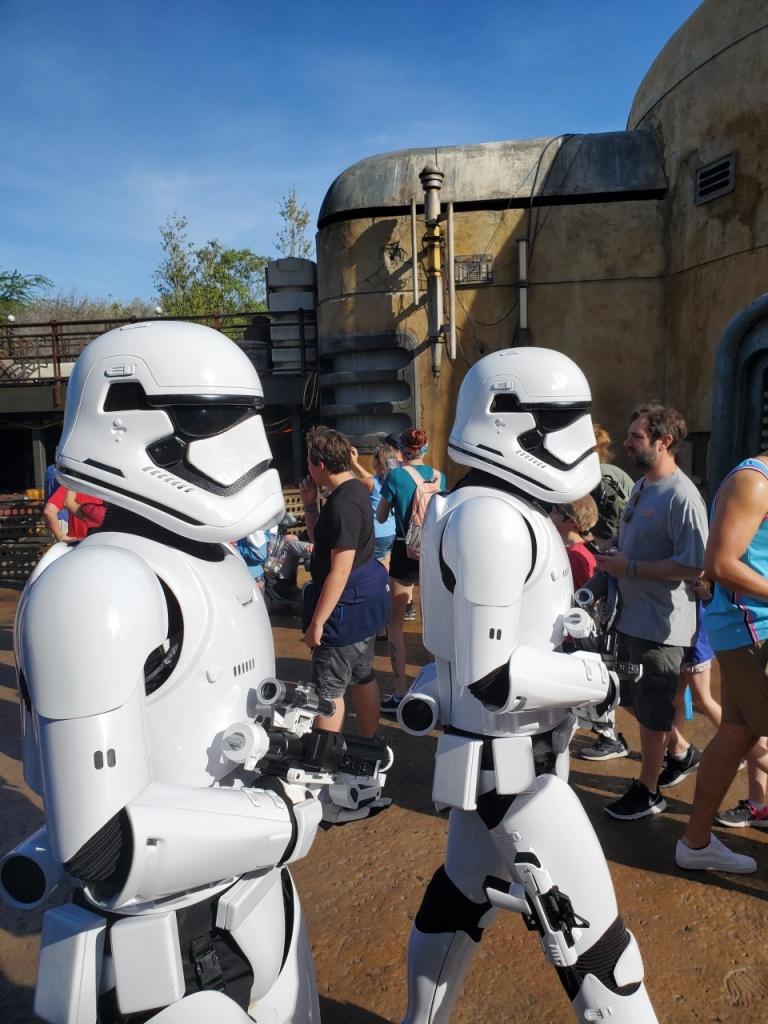 Storm Troopers walking through Galaxy's Edge