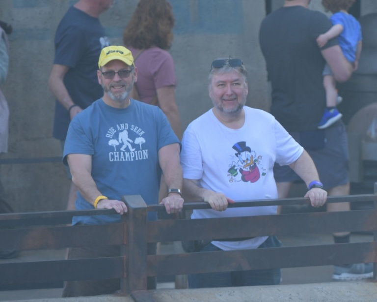 Bob and Dave looking out over the railing