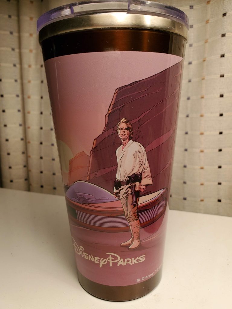 The Disney Parks side of the collectible Star Wars refillable tumbler with Luke Skywalker