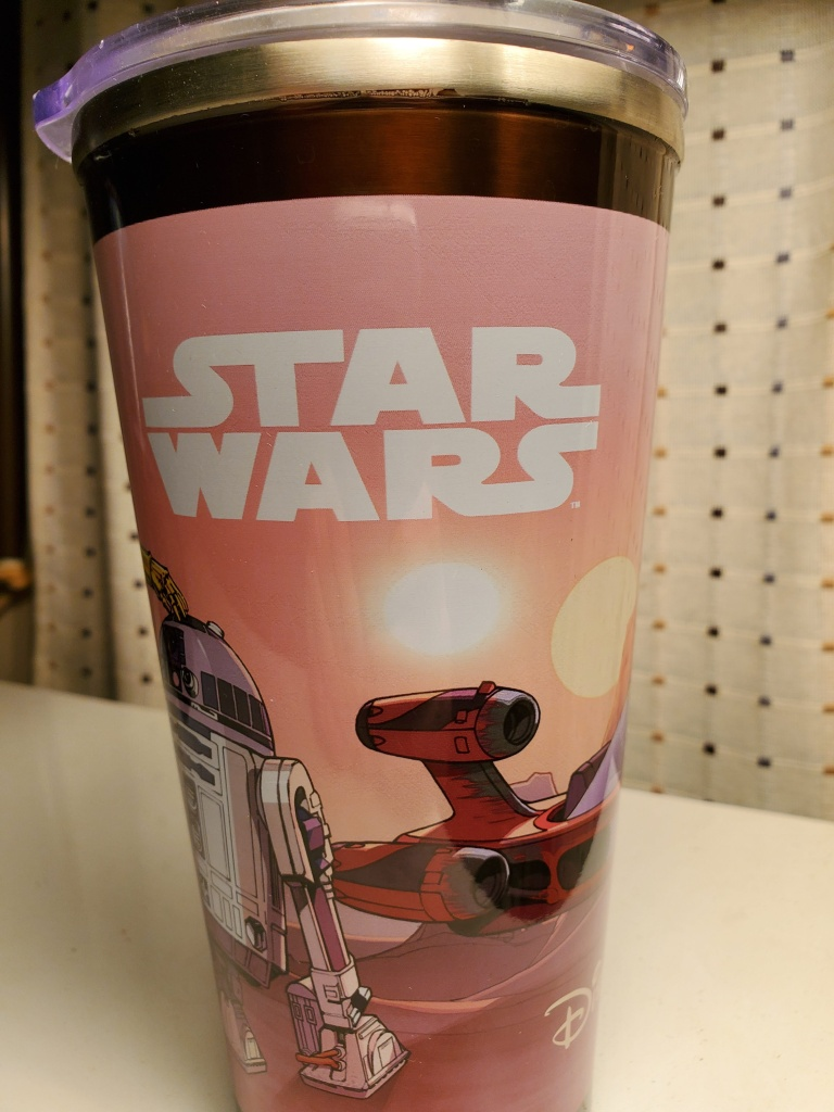 The Star Wars logo side of the refillable souvenir tumbler from the Disney Parks.