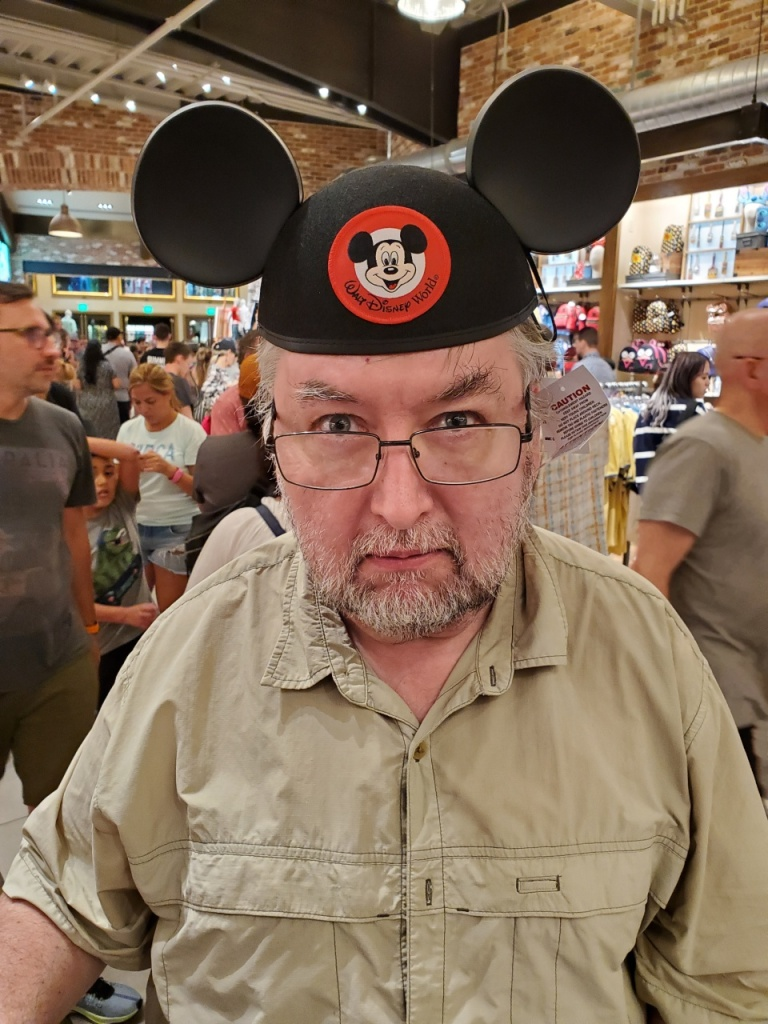 Bob in Mouse Ears being grumpy