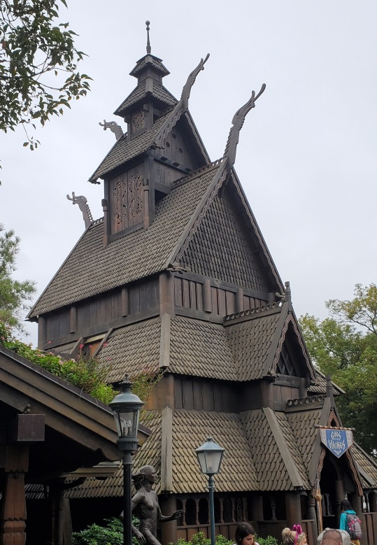 Stave church replica at the Norway pavilion in Epcot.