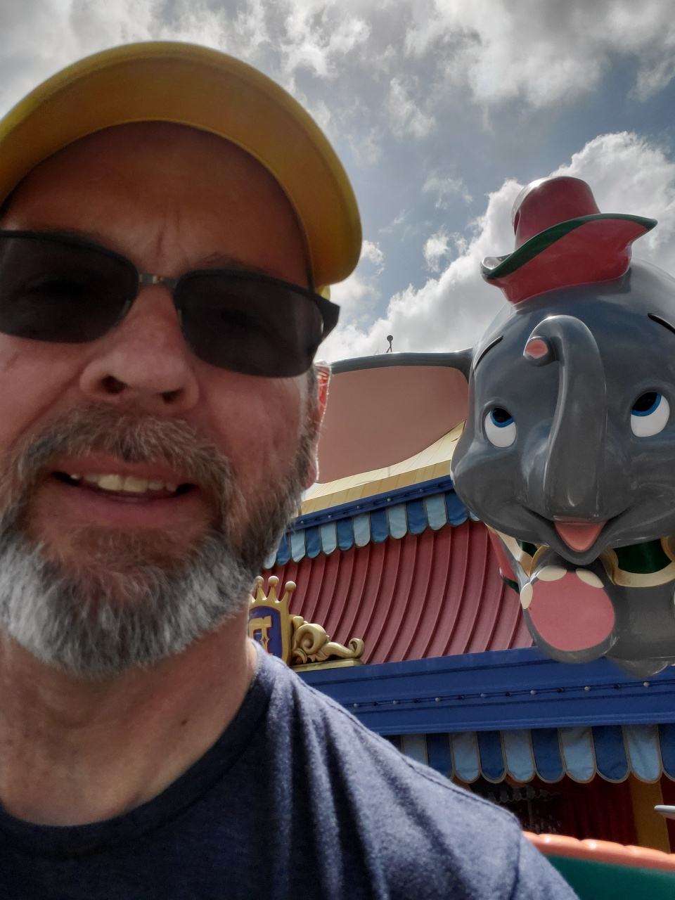 Dave with Dumbo flying in the background.