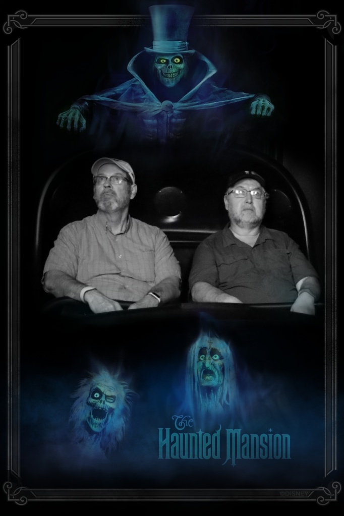 Dave and Bob on the Doom Buggy at the Haunted Mansion.