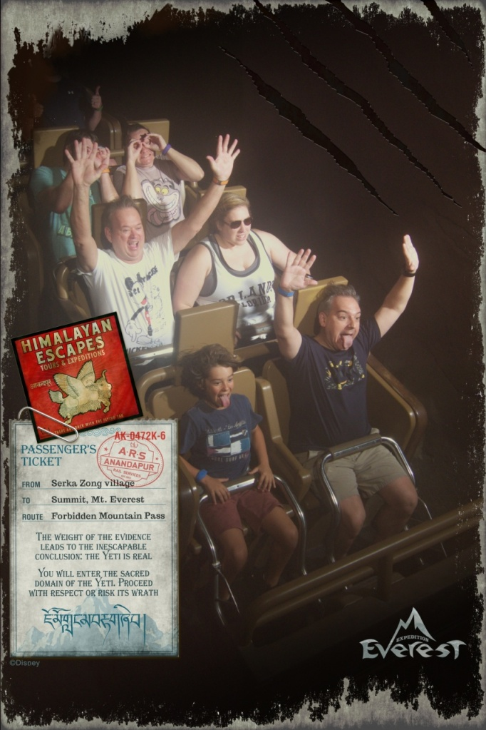 Somehow other people got in our ride photo on Expedition Everest