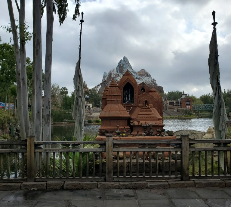 A shrine at Animal Kingdom which resembles the mountain of Expedition Everest